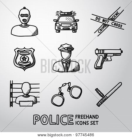 Set of police freehand icons. Vector