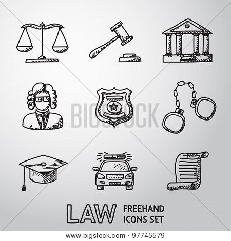 Law, justice freehand icons set. vector