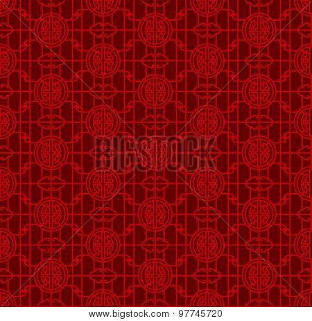 Seamless Chinese window tracery lattice geometry round pattern background.