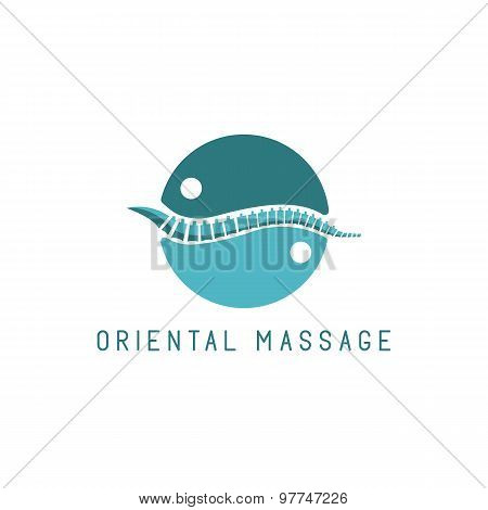 Spine Logo, Oriental Massage Blue Symbol, Diagnostic Center Icon
