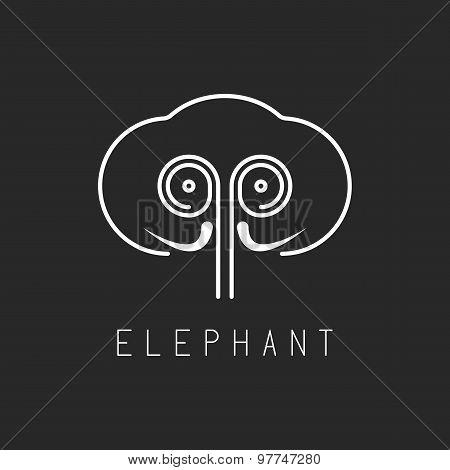 Elephant Mockup Logo, Abstract Geometric Silhouette Of Animal