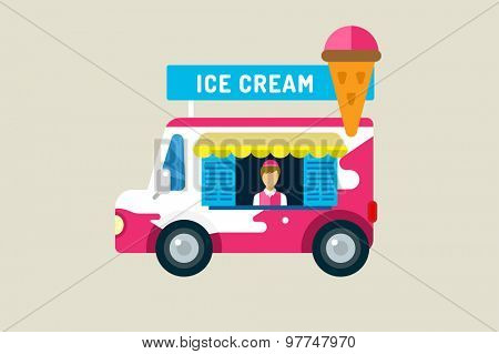 Ice cream car icon. Cold milk product, vanilla symbol, auto transport, transportation, mobile restaurant, fast food, kids desserrt. Design elements.  Isolated on white