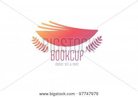 Book cup template logo icon. Back to school. Education, university, college symbol or knowledge, books stack, publish, page paper. Design element. Isolated on white
