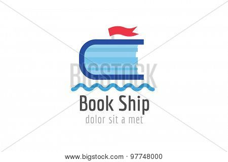 Book ship template logo icon. Back to school. Education, university, college symbol or knowledge, books stack, publish, page paper. Design element. Isolated on white