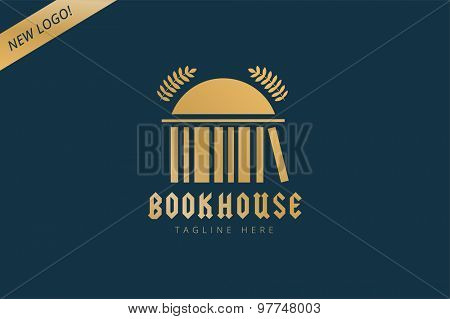 Book house template logo icon. Back to school. Education, university, college symbol or knowledge, books stack, publish, page paper. Design element