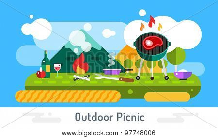 Barbecue and food icons vector set outdoor landscape. Outdoor, BBQ, fish on grill, kitchen, meat food, restaurant. Stock design elements