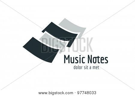 Abstract music piano keys logo icon. Melody, classic, note symbol or paper, book, song. Design element. Isolated on black
