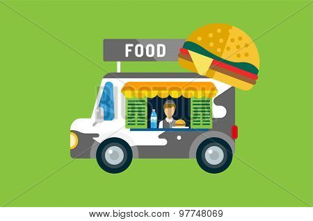 Fast food car icon. Meat grilled product, hot dogs, hamburger, auto transport, transportation, mobile restaurant, fast food, lunch time. Design elements.  Isolated on green