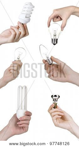 Different light bulbs in hands isolated on white in collage