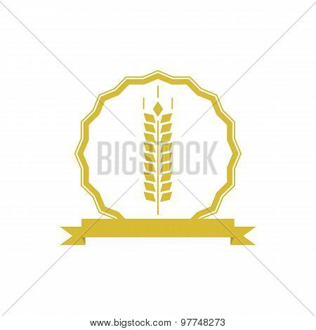 Ears Wheat Logo Or Emblem Mockup, Concept Organic Food