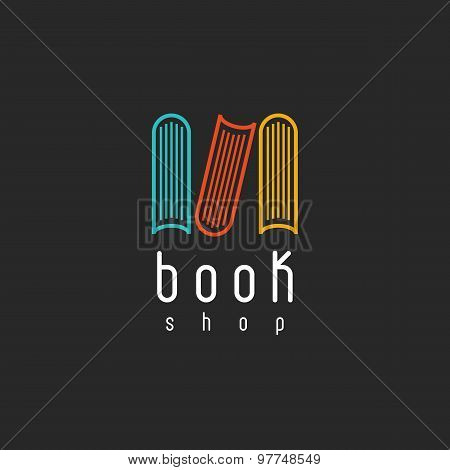 Book Shop Logo, Mockup Of Sign Literature Store, Design Library Icon