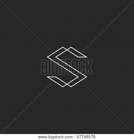 Letter S Monogram Logo, Black And White Line Graphic Concept