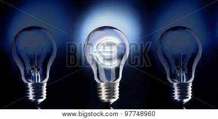 Light bulb with euro symbol on dark background