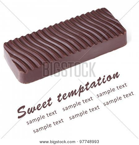 Bar of chocolate isolated on white and space for text