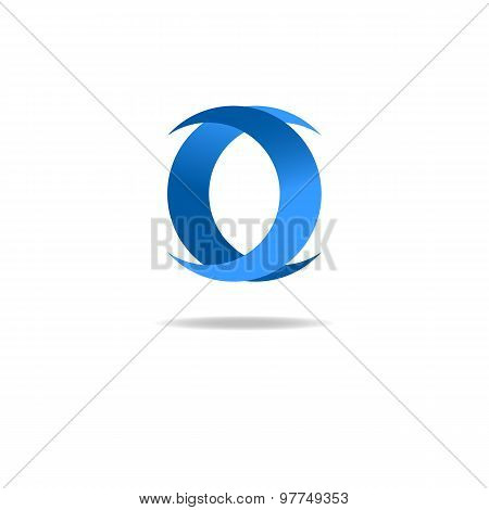 Letter O Logo, Blue Graphic Design, Geometric Shape