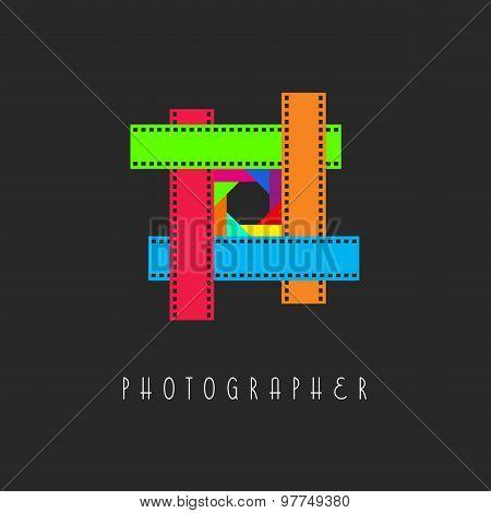 Frame Of The Film Logo, Colored Lens Aperture, Design Calling Card Photographer