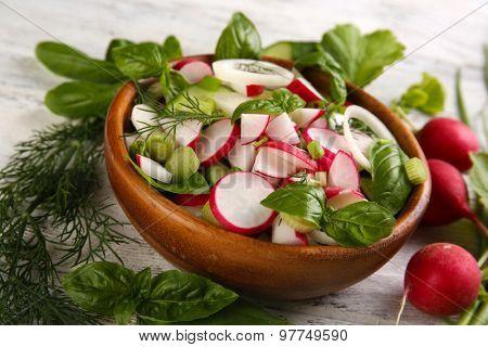 Fresh vegetable salad on table close up