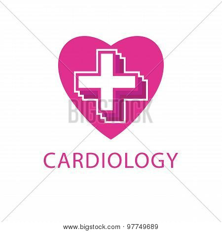 Heart And Cross medical Logo, Cardiology Icon