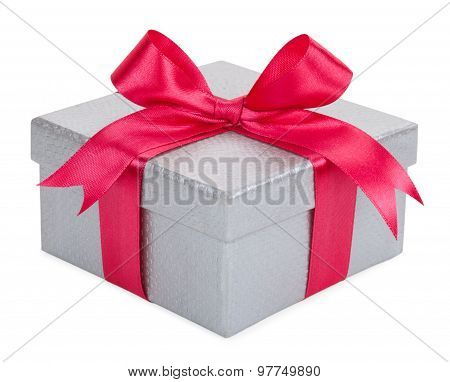 Gray Gift Box With A Pink Bow