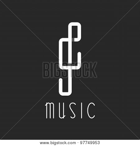 Music Key Logo, Overlapping Lines, Black And White Icon