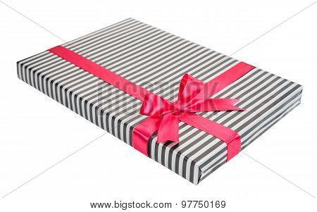 Fashionable Striped Gift Box With A Pink Bow