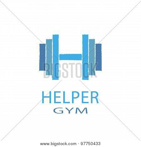 Dumbbell, Idea H Letter Logo Of Gym, Fitness Blue Symbol