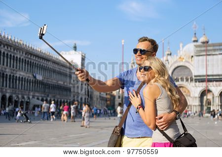 Couple making selfie photo