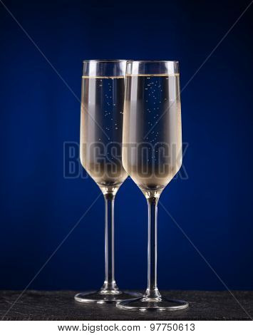Two Glasses Of Cold Champagne. Christmas Concept
