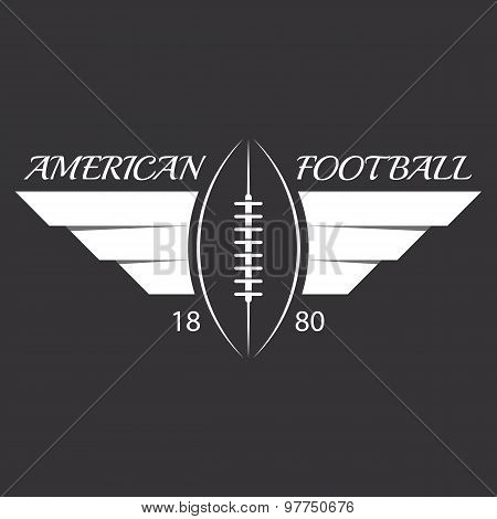 American Football Or Rugby Ball With Wings, Sport Logo, Overlapping Effect