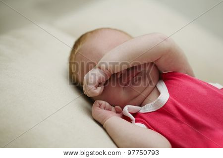 cute sleeping baby indoors portrait