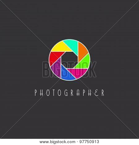 Colored Aperture Of The Camera Lens, Photo Studio Logo
