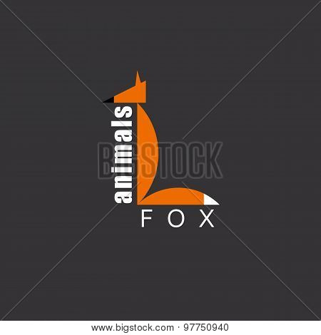 Orange Fox In The Figure Letter L, Animal Logo, Zoo Background