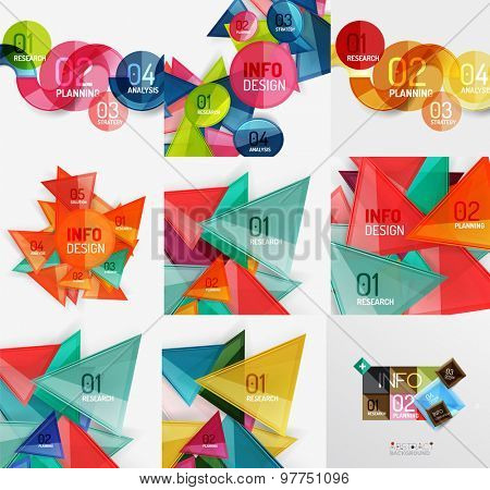 Geometric banners, templates and layouts. Paper graphics. Mega collection Modern compositions