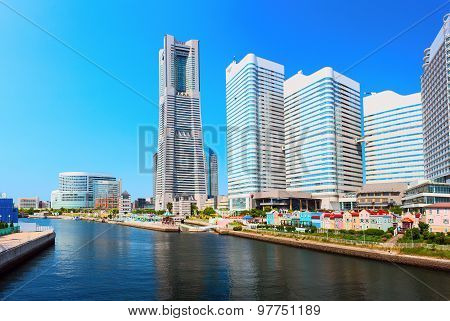 Downtown of Yokohama City. It is the capital city of Kanagawa Prefecture. Japan