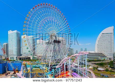 Central park with Ferris wheel. Downtown of Yokohama City. Japan