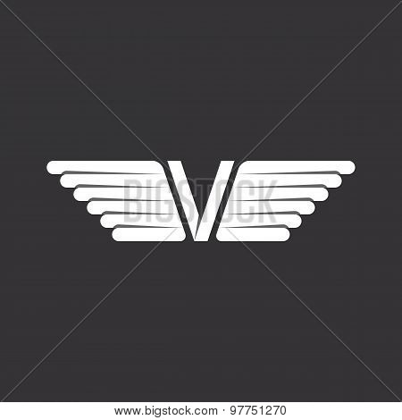 V - Letter With Wings, Black And White Background, Logo In The Overlapping Technique