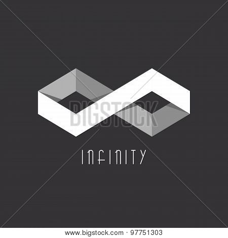3D Infinity Sign Of The Two Rhombus, Geometric Illusion, Overlapping Technique