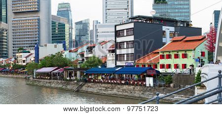 Evening view of Downtown Core quay and Bayfront district. Singapore City