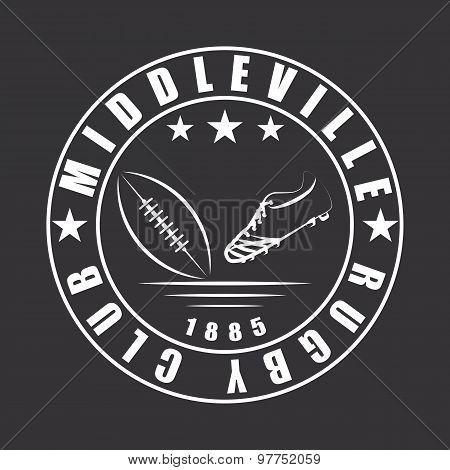 American Football Or Rugby Ball And Boot Emblem Club Logo Template