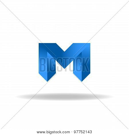 M - Blue Letter, Web Or Business Abstract Logo