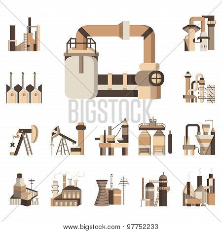 Industrial objects flat color vector icons