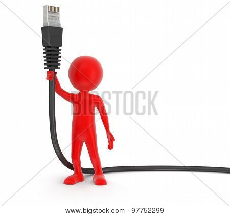 Man and Computer Cable (clipping path included)