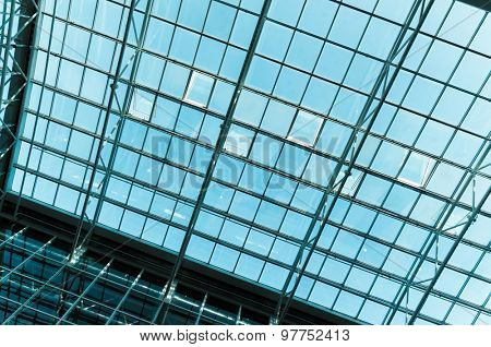 The glass roof of the station in the sunlight.