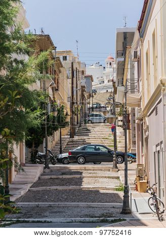 cosy street of Chania old town with stairs, Crete, Greece