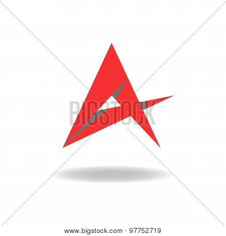 A - Letter Or Idea Abstract Red Star Logo