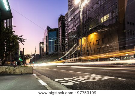SAO PAULO, BRAZIL - CIRCA AUGUST 2015: Paulista Avenue at night in Sao Paulo, Brazil