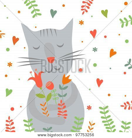 Cute cartoon smiling cat with floral print and hearts