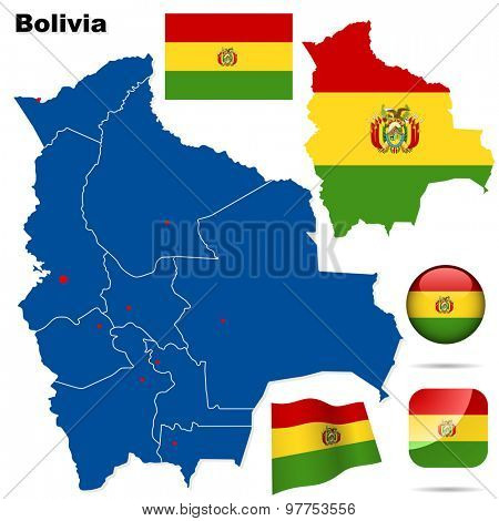 Bolivia set. Detailed country shape with region borders, flags and icons isolated on white background.