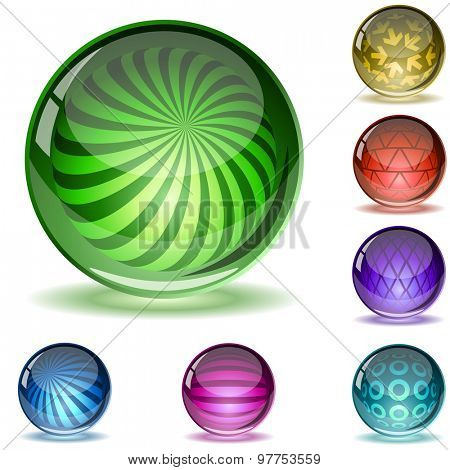 Colorful glossy spheres with different inner patterns isolated on white.