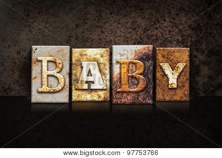 Baby Letterpress Concept On Dark Background
